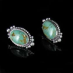Sterling Silver Natural Green Turquoise Post Earrings