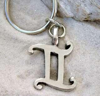 Pewter Gemini Astrology Zodiac Sign KEYCHAIN Key Ring
