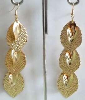 Fashion Gold Tone Vintage Leaves Dangle Earrings B14
