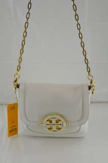 TORY BURCH AMANDA MESSENGER WHITE LEATHER CROSSBODY BAG $435