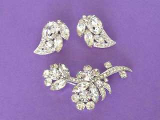 """Vintage Signed """"Eisenberg Ice"""" Crystal Rhinestone Flower Brooch"""