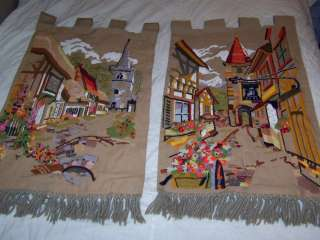 Vintage Old World Village Embroidered 24X35 Banner
