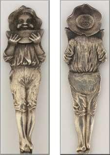 Rare Texas Figural Black Americana Sterling Silver Souvenir Spoon w