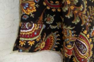 BLACK PAISLEY PRINT BUTTON FRONT FITTED 3/4 SLEEVE BLOUSE $24