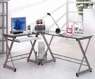 New L Shaped Glass Top Desk Computer Work Station metal frame office