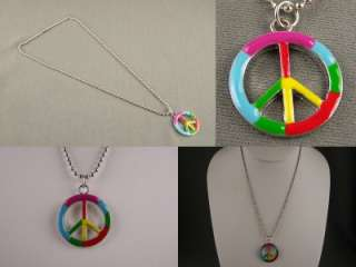 Pink Red Blue Green Yellow Peace Sign pendant necklace