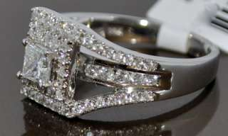 DIAMOND RING WEDDING SET 1.4CT WHITE GOLD 3 IN 1 HALO SOLITAIRE