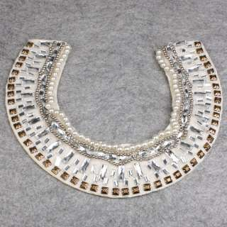Women White Crystal Rhinestone Stud Choker Wrap Shawl Necklace Charm