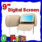 2x 9 DIGITAL SCREEN Car Headrest DVD Player TAN L0236