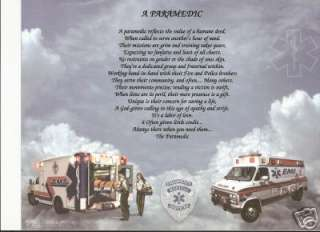 PARAMEDIC EMS EMT Poem Prayer Personalized Name Print