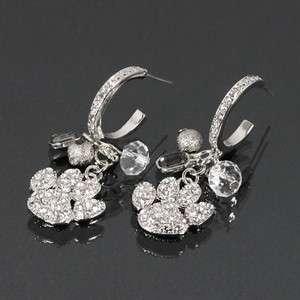 Paw Print Rhinestone Charm Hoop Earrings SE284383 E1848 in 8 Colors