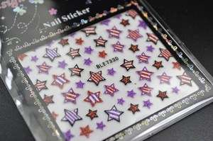 Red and Purple Glitter Stars 3D Design Nail Art Stickers Decals   NEW