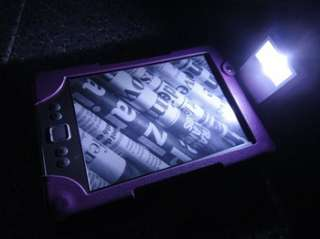 PURPLE LEATHER CASE COVER WITH BUILT IN LIGHT FOR  KINDLE 4