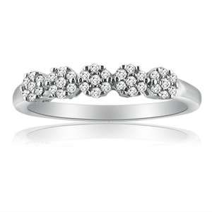 10K White Gold Diamond Anniversary Ring .15ct Sizes 5 7