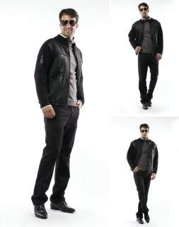 NEW Men Motorcycle Bomber Biker Rider PU Faux Doeskin Leather Jacket