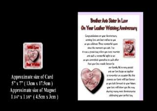 3RD WEDDING ANNIVERSARY BROTHER & SISTER IN LAW CARD & MAGNET GIFT