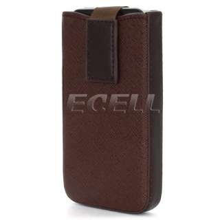 APPLE IPHONE 4 BROWN PULL TAB LEATHER SLEEVE POUCH CASE