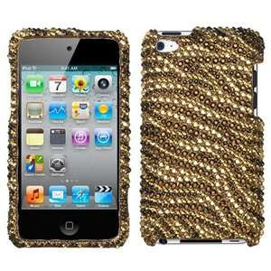 iPod Touch 4th Gen   CRYSTAL DIAMOND BLING CASE COVER GOLD ZEBRA