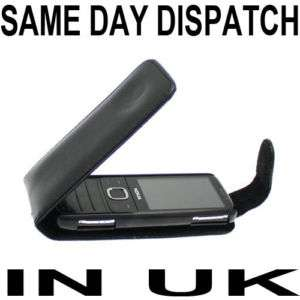 BLACK LEATHER FLIP CASE COVER FOR NOKIA 2730 CLASSIC