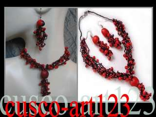 Jewelry Set Necklace & Earrings Huayruro  Seeds