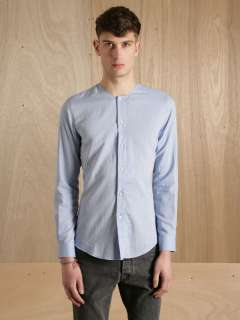 Maison Martin Margiela Mens 10 Collarless Blue Shirt  LN CC