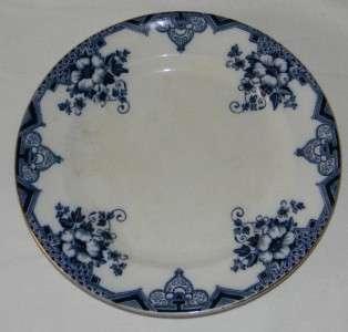 HOLLINGSHEAD & KIRKHAM FLOW BLUE PLATE CAMBRIDGE PAT e