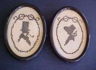 Pair Vintage Cross Stitch Silhouettes Man Top Hat Woman