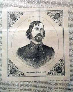 CONFEDERATE Illustrated Civil War A. P. HILL Print 1862 Old Newspaper