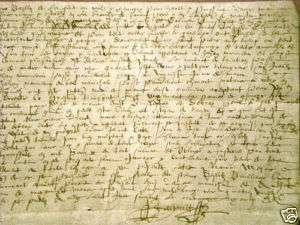 Private manuscript in medieval French 41 x 17 cm 1689