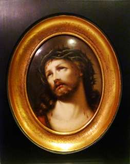 Porcelain Hand Painted Plaque Jesus Christ 19 cent KPM quality