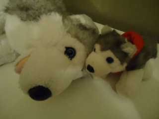 BEAR BAB SIBEARIAN PLUSH HUSKY AND BABY DOG PUP MAMA & PUPPY PLUSH TOY