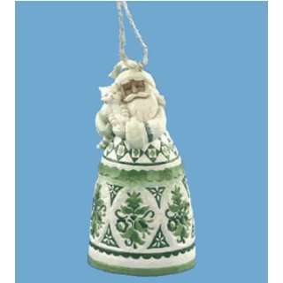 Jim Shore   Heartwood Creek   Green Toile Santa Bell by Enesco