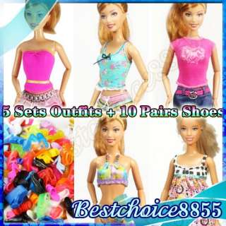 sets Assorted style Barbie Doll outfit Handmade Casual Clothes 10
