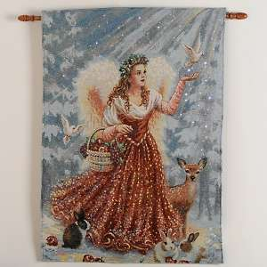 Fiber Optic Christmas Angel Wall Tapestry with Music