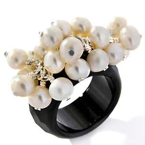 Black Onyx and Cultured Freshwater Pearl Sterling Silver Cluster Ring