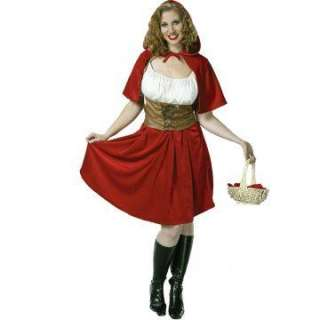 Red Riding Hood Plus Adult Costume   Includes White blouse, brown
