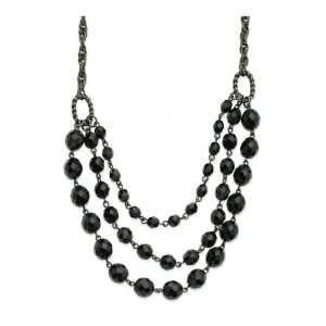 Faceted Jet Bead 3 Strand Bib 15 w/Ext Necklace Jewelry