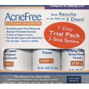 Acne Free Clear Skin Treatments 3 bottles per pack Beauty