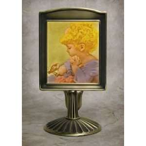 in Color Lithophane Mantle Stand Antique Brass Home Improvement