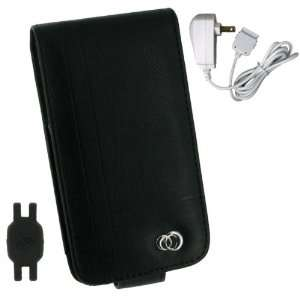 Black Premium Flip Leather Case + Wall Charger for Apple iPhone 4 4th