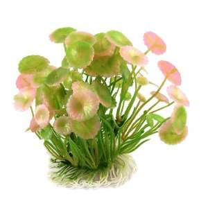 Como Aquarium Tanks Artificial Green Pink Round Leaf