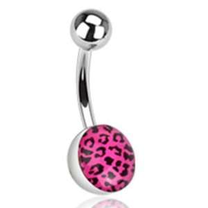 Hot Pink Leopard Belly Button Navel Ring with Surgical Steel Bar Non