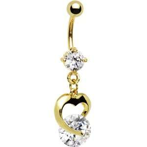 Gold Plated Cz Solitaire Cz Hollow Heart Dangle Belly Ring Jewelry
