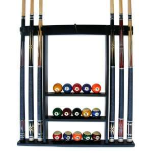 Iszy 6 Pool Cue Billiard Stick Wall Rack Made of Wood