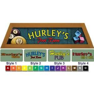 Personalized Pool Table Light Box Style Light Blue With