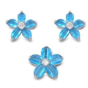 Sterling Silver & Blue Topaz CZ Prairie Rose Flower Earring & Necklace