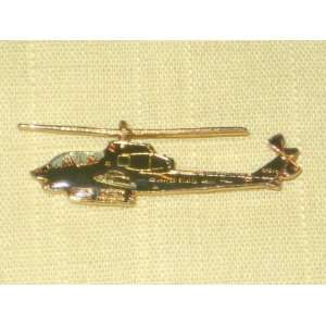 Vintage Enamel Gold Tone  United States Army  Helicopter Pin Brooch