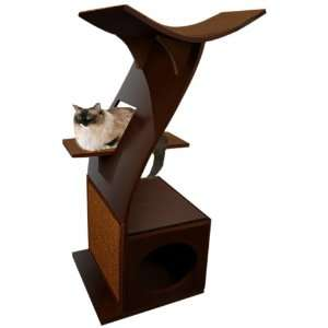 The Refined Feline Little Lotus Cat Tower in Mahogany  Pet