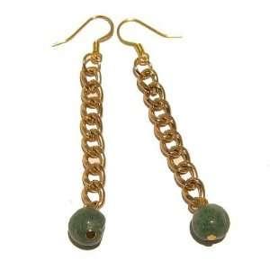 Aventurine Earrings 35 Gold Chain Green Crystal Healing Abundance Orb