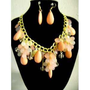 Tone Chain   Pink Bead statement Necklace Earring Set